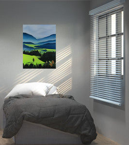 The Green Valley Neon Collection Original Painting by Orfhlaith Egan Bedroom View