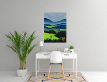 Load image into Gallery viewer, The Green Valley Neon Collection Original Painting by Orfhlaith Egan Home Office View
