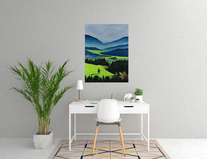 The Green Valley Neon Collection Original Painting by Orfhlaith Egan Home Office View
