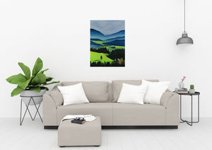 The Green Valley Neon Collection Original Painting by Orfhlaith Egan Living Room View