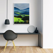 Load image into Gallery viewer, The Green Valley Neon Collection Original Painting by Orfhlaith Egan Minimam Room White Frame View