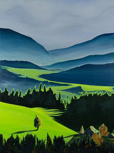 The Green Valley Neon Collection Original Painting by Orfhlaith Egan