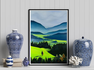 Green Valley Neon Collection Giclee Print by Orfhlaith Egan