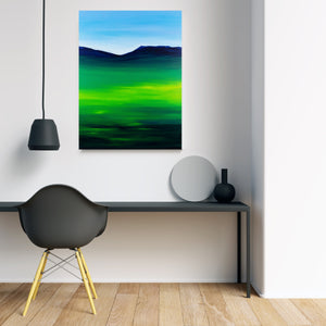 Greenblue View 80x60cm Neon Collection Original Painting Orfhlaith Egan Minimal Room Desk View