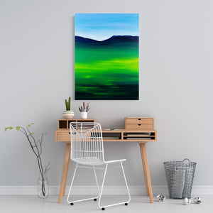 Greenblue View 80x60cm Neon Collection Original Painting Orfhlaith Egan Home Office View