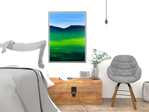 Greenblue View 80x60cm Neon Collection Original Painting Orfhlaith Egan Bedroom View