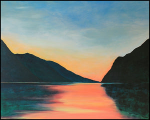 Lake Garda | Original Landscape Painting by Orfhlaith Egan | Framed Black Wood Edge | A Soft Day