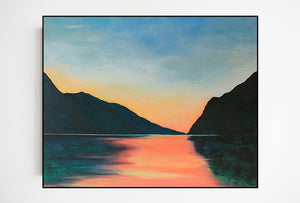 Lake Garda | Original Landscape Painting by Orfhlaith Egan | Framed Black Wood Edge Wall Art | A Soft Day