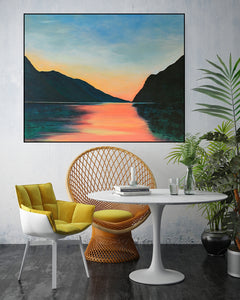 Lake Garda | Original Landscape Painting by Orfhlaith Egan | Breakfast Room Interior | A Soft Day