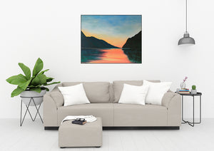 Lake Garda | Original Landscape Painting by Orfhlaith Egan | Home Interior Living Room | A Soft Day
