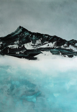 Lake in Winter | Art Print on Paper Alpine Landscape Painting by Orfhlaith Egan | A Soft Day | Christmas Collection 2020