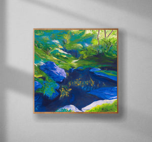 Morrigan's Forest Original Painting Framed Natural Wood Edge Wall Image