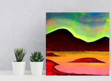 Load image into Gallery viewer, Pink Island 43,5x42cm Original Painting Orfhlaith Egan Desk View with Cactus