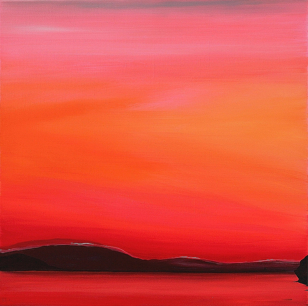 Red Sunset 60x60cm Painting on Canvas by Orfhlaith Egan | A Soft Day