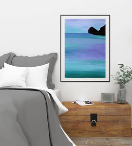 Violet Blues Original Seascape Painting on Paper