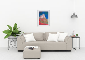Painting | Alpine Pink Matterhorn by Orfhlaith Egan | A Soft Day | White Frame Living Room Home Interior