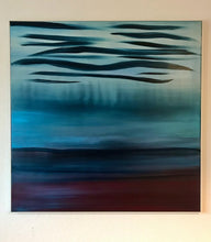 Load image into Gallery viewer, A Soft Day | Original Abstract Blue Landscape Painting by Orfhlaith Egan | Evening Electric Lighting | A Soft Day
