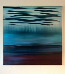 A Soft Day | Original Abstract Blue Landscape Painting by Orfhlaith Egan | Evening Electric Lighting | A Soft Day