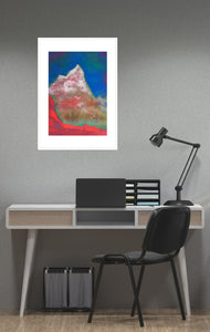 Painting | Alpine Pink Matterhorn by Orfhlaith Egan | A Soft Day | Framed White Gray Home Office Interior