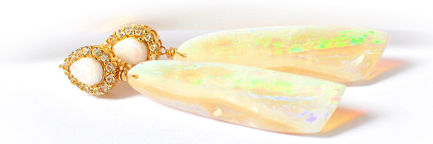 Renate Exclusive Earrings - Very Luxurious Australian White Opal Earrings 'Modern Wife'