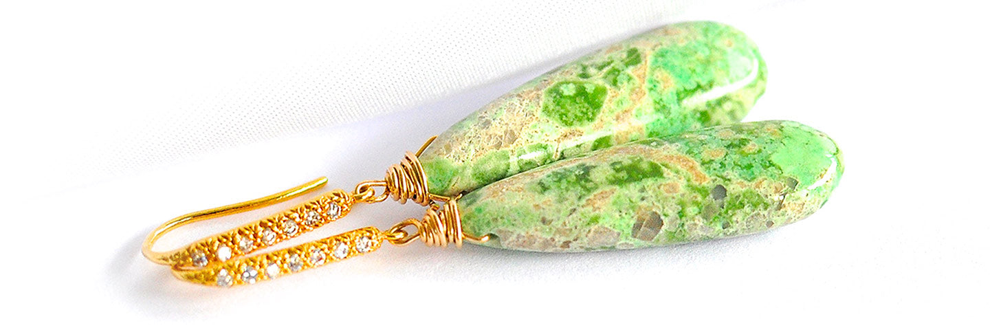 Renate Exclusive Earrings - Simple Variscite Earrings 'Greenery'