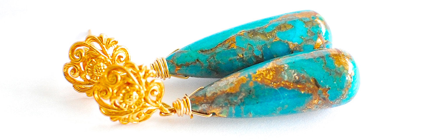 Renate Exclusive Earrings - Pre-Spring Cute Blue Copper Turquoise Earrings 'Denim'