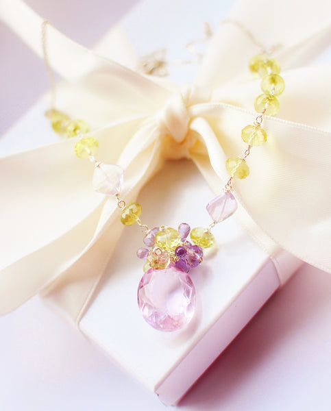 Forget Me Not! Luxury Breath Taking Lavender Pink Kunzite Necklace - Handmade Jewelry - Renate Exclusive - 1