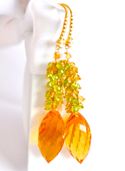 "Orange Citrine and Multi Color Earrings ""Bold"" - Handmade Jewelry - Renate Exclusive - 1"