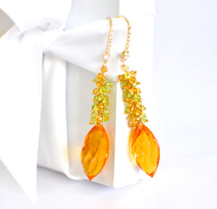 "Orange Citrine and Multi Color Earrings ""Bold"" - Handmade Jewelry - Renate Exclusive - 4"