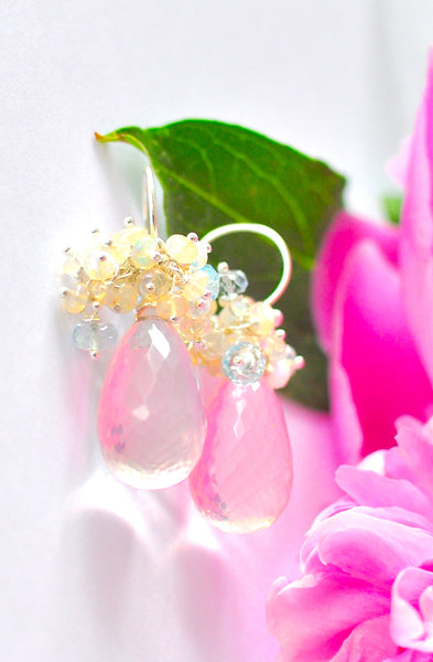 "Feminine Rose Quartz Earrings with Opal ""Rose Rose"""