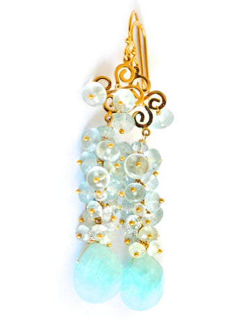 "Handmade Jewelry: Aquamarine Chandelier Earrings ""Winter Wonderland"" - Handmade Jewelry - Renate Exclusive - 1"