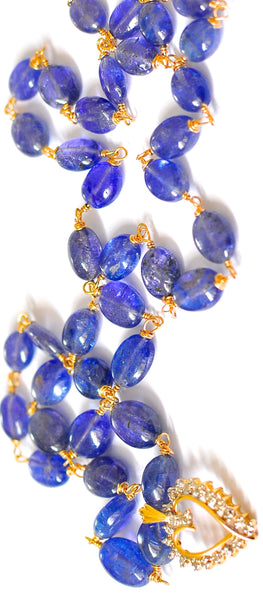 "Luxurious Tanzanite Necklace with 10K Gold Heart Pendant ""HappyNewYear"""