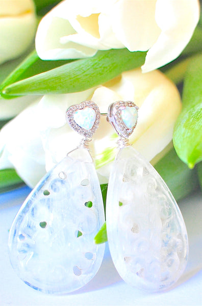 "Luxe LUX Carved Rainbow Moonstone Earrings ""Moon Beauty"""