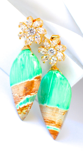 "Holiday Special! Unique Variscite Earrings with Shiny Flowers ""Leaf Leaf"""