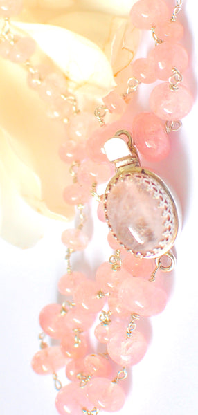 "Elegant Shimmering Pink Morganite Necklace with Morganite Crown Pendant ""Shimmer"""