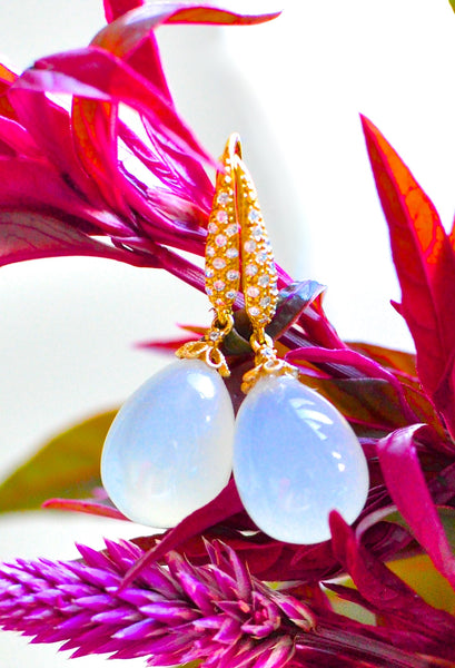 "Cute Milky Agate Earrings ""Kelli""- Jewelry for charity! - Handmade Jewelry - Renate Exclusive - 1"