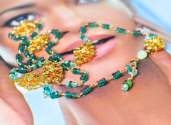 "Green Apatite and Emerald Necklace with Shiny Pendants ""Emerald Lady"""
