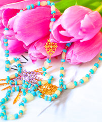 "Luxe Style Long Ethiopia Fire Opal and Sleeping Beauty Turquoise Necklace ""IceQueenII"""