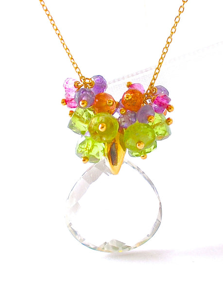 "Summer Special! Colorful Gemstone and Crystal Quartz Necklace ""Amelia"" - Handmade Jewelry - Renate Exclusive - 1"
