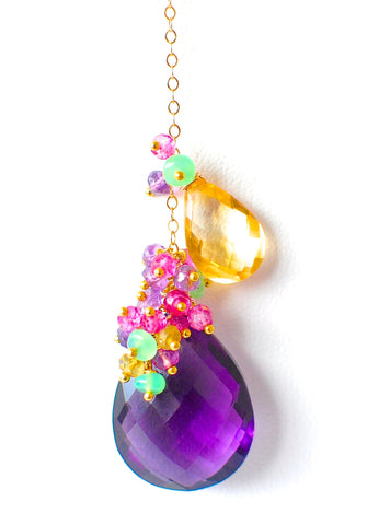 "Handmade Jewelry: 16'' Multicolored Gemstone & Amethyst Pendant Necklace ""Venice"" - Renate Exclusive - 1"