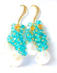 "Freshwater Pearl and Apatite Blue Quartz Earrings ""Franchesca"" - Handmade Jewelry - Renate Exclusive - 2"