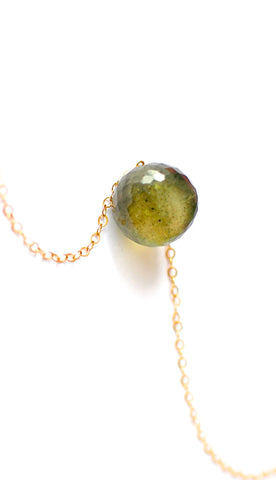 "Handmade Jewelry: 16'' Tiny Light Green Moss Aquamarine Necklace ""Aisha"" - Handmade Jewelry - Renate Exclusive - 1"
