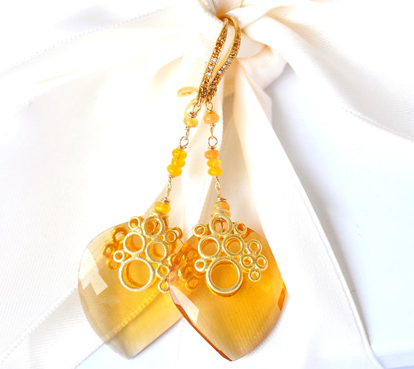 Forget Me Not! Rose Cut Pristine Citrine Quartz Briolette and Opal Earrings - Handmade Jewelry - Renate Exclusive - 1