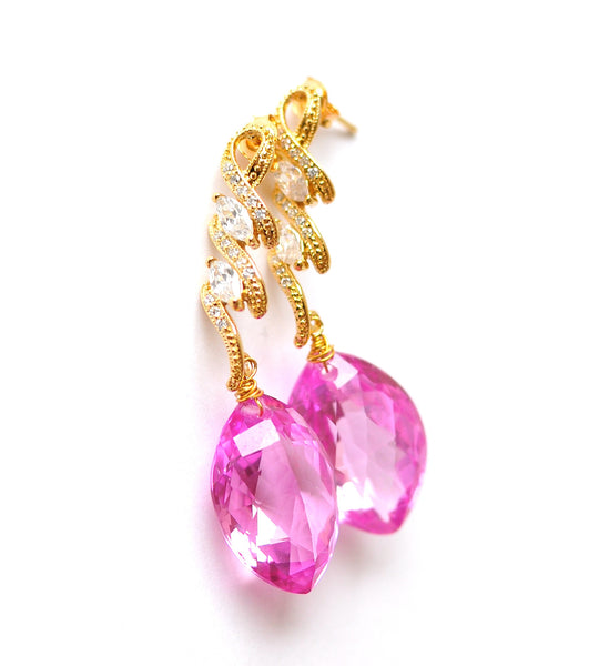 Forget Me Not! Breathtaking Marquise Cut Pink Topaz Earrings - Handmade Jewelry - Renate Exclusive - 1
