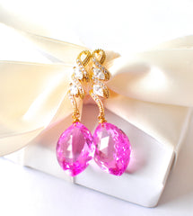 Forget Me Not! Breathtaking Marquise Cut Pink Topaz Earrings - Handmade Jewelry - Renate Exclusive - 2