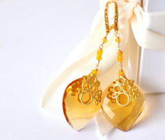 Forget Me Not! Rose Cut Pristine Citrine Quartz Briolette and Opal Earrings - Handmade Jewelry - Renate Exclusive - 5