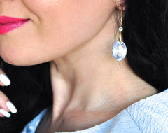 Forget Me Not! Luxury and Beautiful Sky Blue Earrings - Handmade Jewelry - Renate Exclusive - 5
