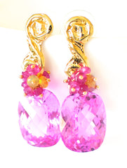 "Pink Topaz and Tourmaline Earrings ""Christy"" - Handmade Jewelry - Renate Exclusive - 2"