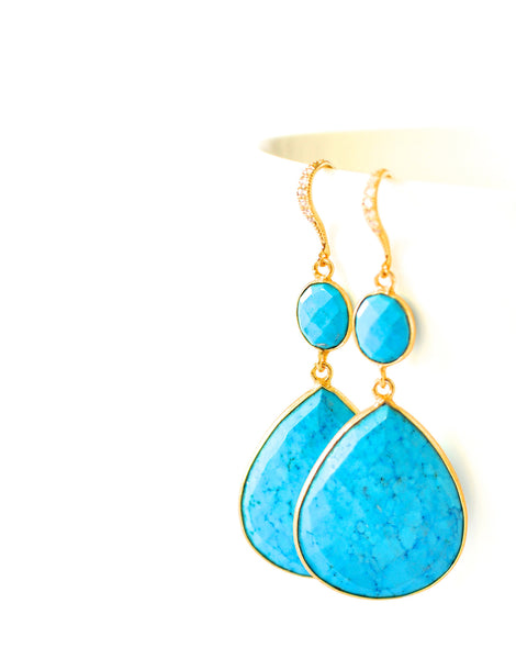 "Genuine Turquoise Earrings ""Cynthia"" - Handmade Jewelry - Renate Exclusive - 1"