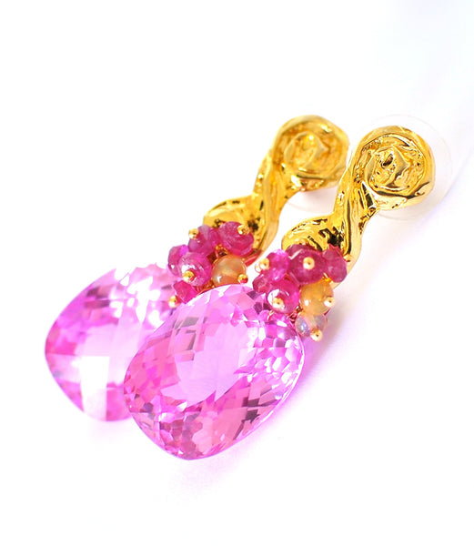 "Pink Topaz and Tourmaline Earrings ""Christy"" - Handmade Jewelry - Renate Exclusive - 1"